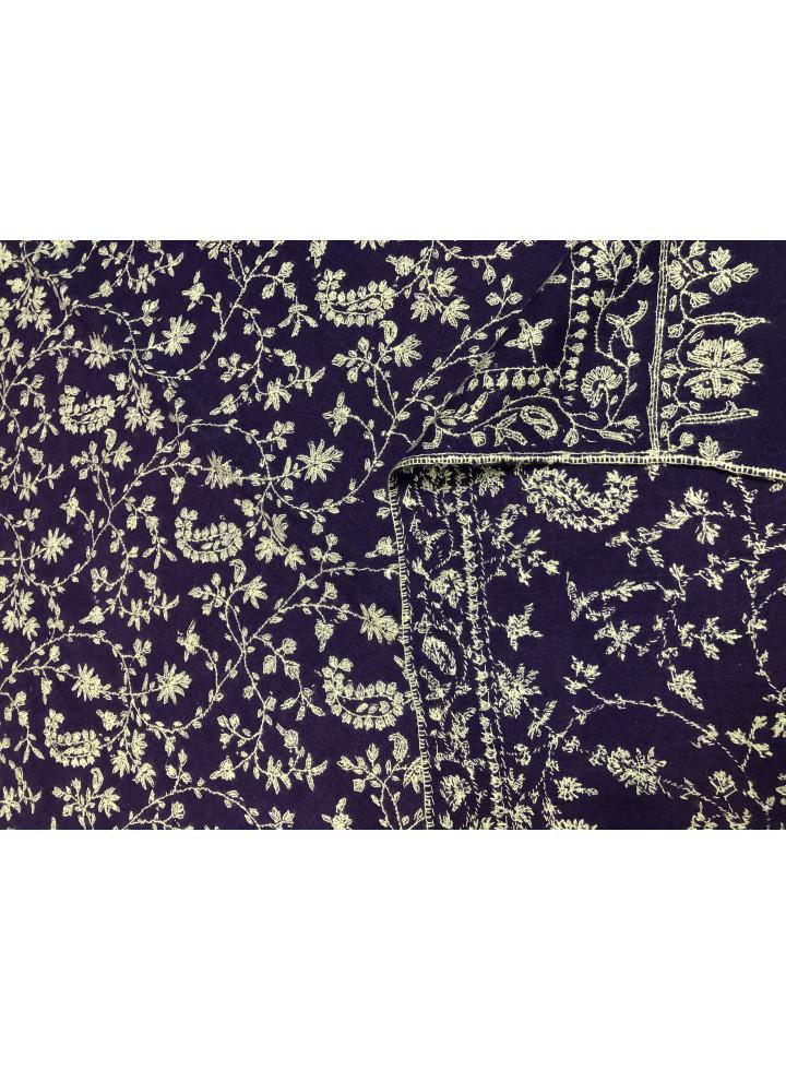 Deep Blue Sozni Jaali Hand Embroidered Cashmere Pashmina Shawl