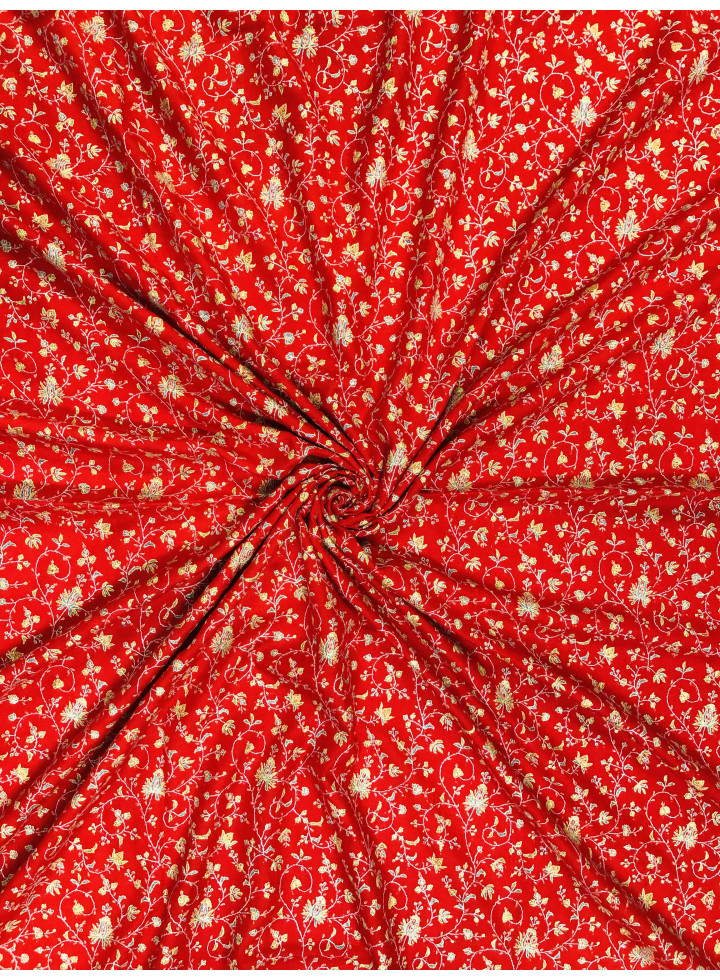 True Red Timeless Sozni Hand Embroidered Jaalidar Cashmere Pashmina Shawl