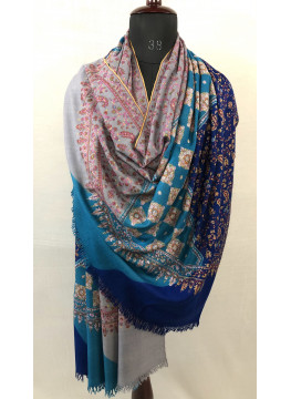 Three Colors Exclusive Sozni Embroidery Handmade Pure Cashmere Pashmina Shawl