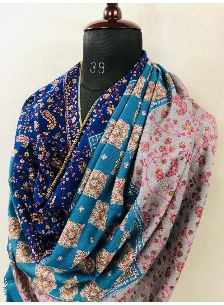 Three Colors Exclusive Sozni Embroidery Handmade Pure Cashmere Pashmina Shawl