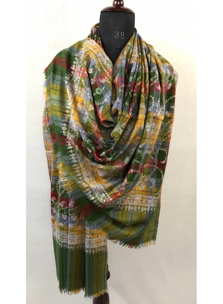 Online Lime Plaid Jaaldar Sozni Embroidery Handwoven Real Cashmere Pashmina Shawl