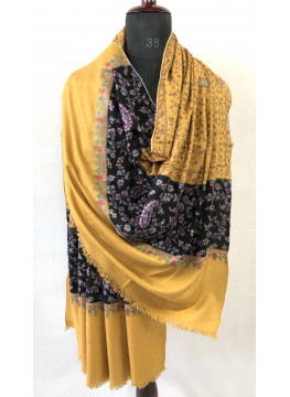 Black And Honey Yellow Exquisite Jaal Sozni Hand Embroidered Pure Cashmere Pashmina Shawl