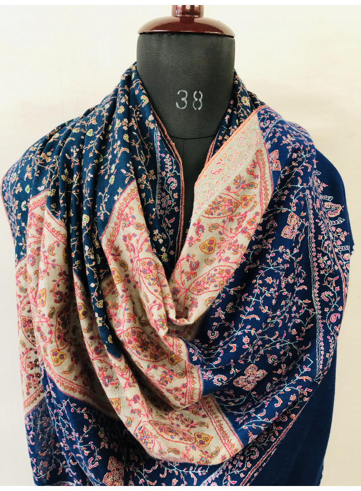 Sophistique Blues And Gray Handcrafted Sozni Jaal Genuine Cashmere Pashmina Shawl