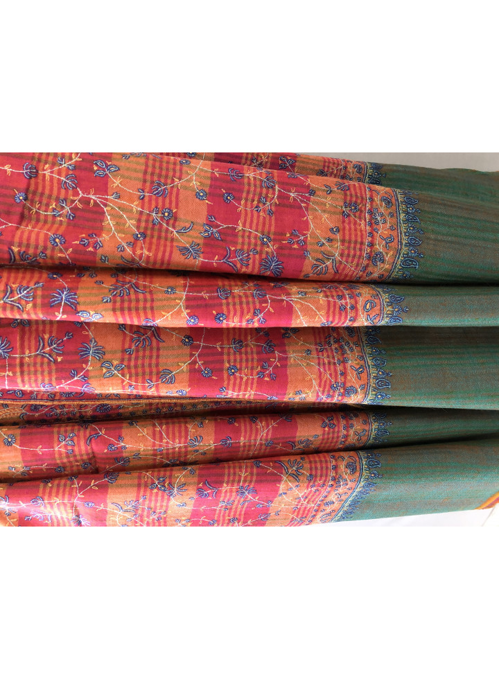 Virtual Pink Tartan Plaid Sozni Embroidery Jaal Handmade Pure Cashmere Pashmina Shawl