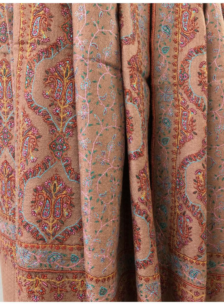 Cedar Wood Mehrab Jali Sozni Hand-Embroidery Pure Cashmere Pashmina Shawl