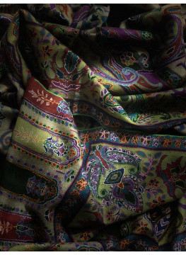 Pashmina Antique Vintage Pattern Outlined Embroidery Shawl
