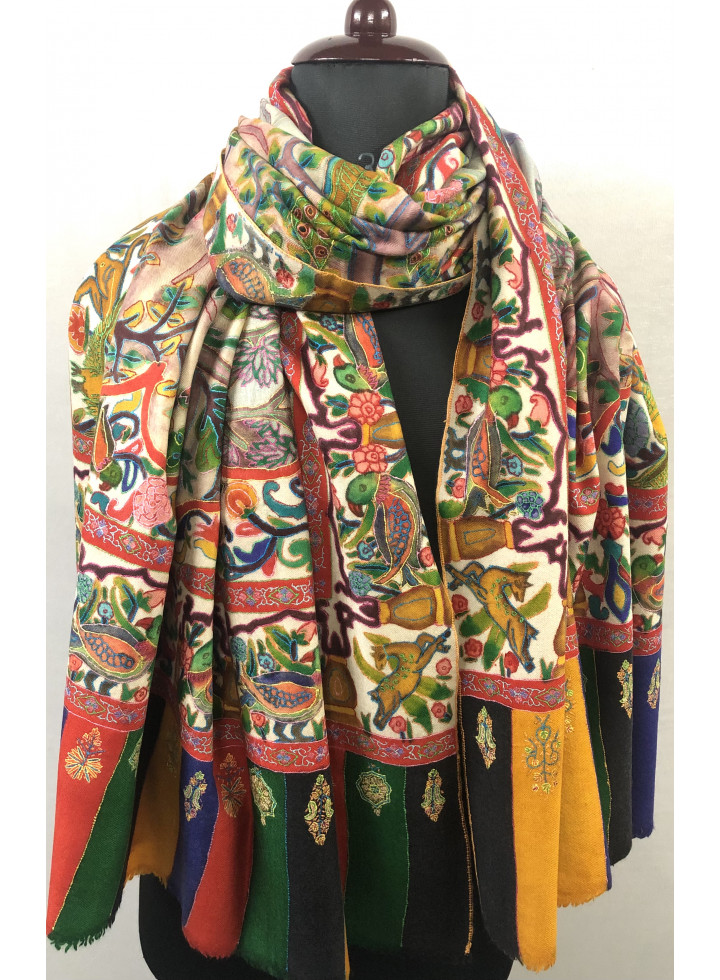 Hunting Kalamkari Hand Painted And Hand Embroidered Cashmere Pashmina Shawl