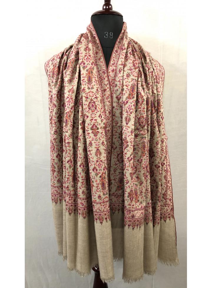 Natural Sozni Embroidered Luxury Jamawar Cashmere Pashmina Shawl