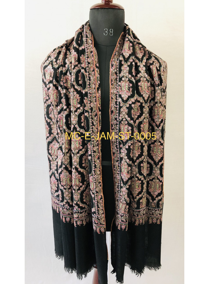 Mughal Majesty Sozni Embroidery Handcrafted Black Jamawar Cashmere Pashmina Stole