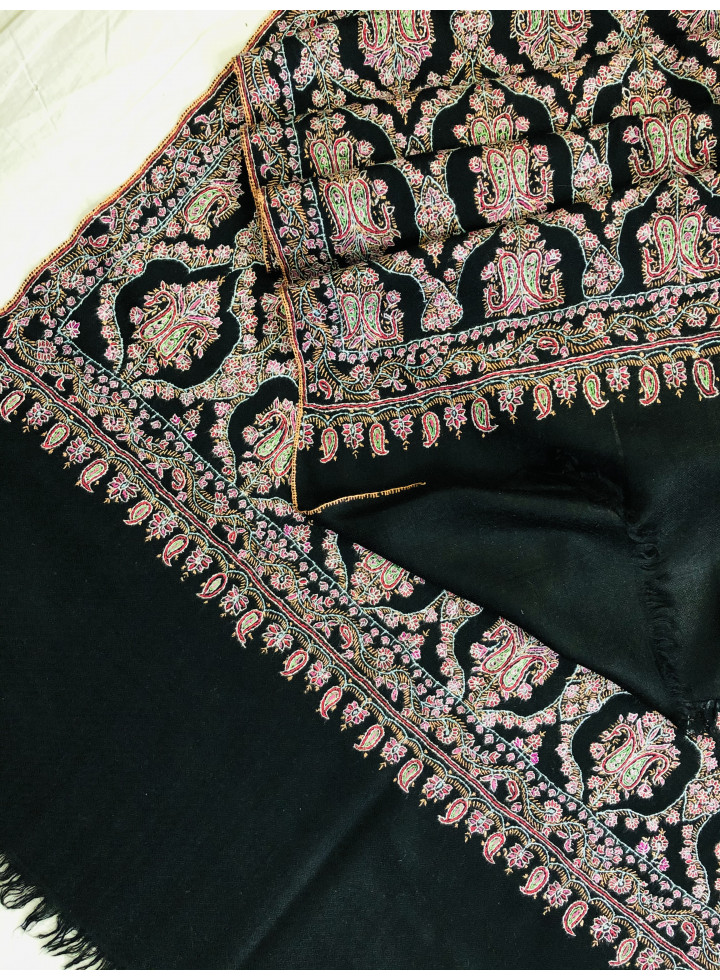 Mughal Majesty Sozni Embroidery Handcrafted Black Jamawar Cashmere Pashmina Stole