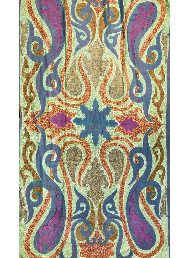 Muted Sozni Embroidery Kashmir Antiquarian Paisley Cashmere Pashmina Shawl
