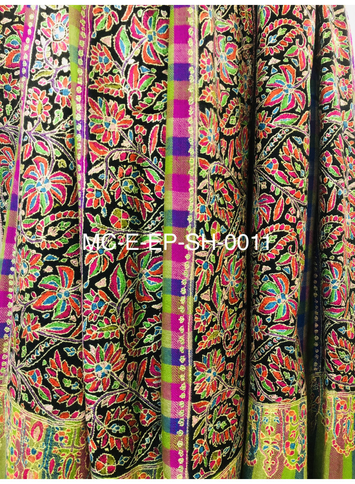 Exotica Paper Mache Embroidery Multicolored Gingham Handcrafted Cashmere Pashmina Shawl