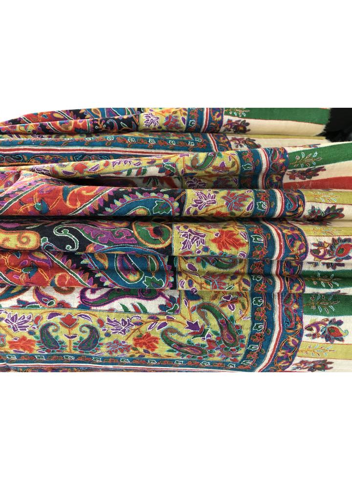 Kashmir Paisley Pivot Design Vintage Outlined Embroidery Cashmere Pashmina Shawl