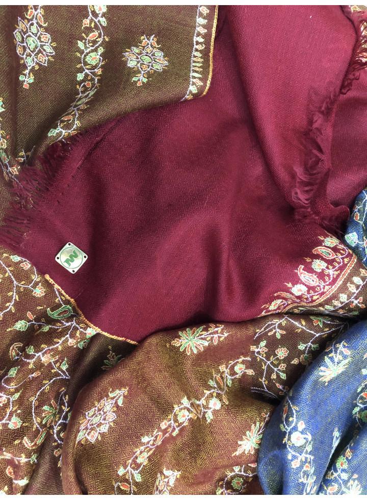 Royal Mughal Era Floral Embroidered Cashmere Pashmina Stole