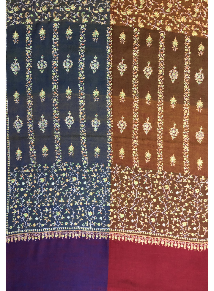 Royal Mughal Era Floral Embroidered Cashmere Pashmina Stole