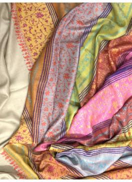Elysium Garden Sozni Embroidered Cashmere Pashmina Stole