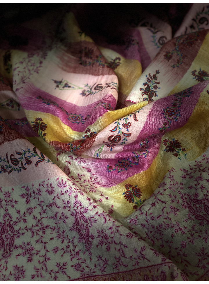 Ikkat Weave Sozni Embroidered Cashmere Pashmina Stole