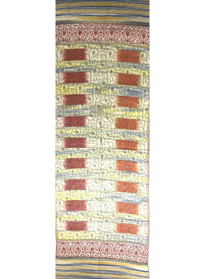 Ikkat Jaal Sozni Embroidered Cashmere Pashmina Stole