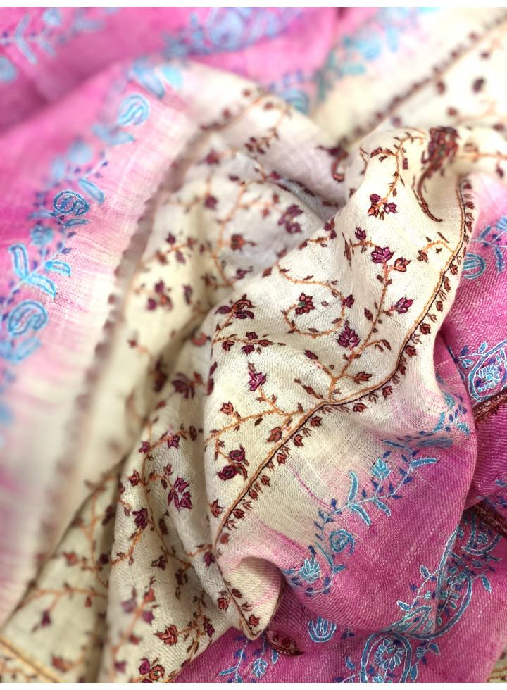 Kashmir Sozni Embroidery Ikkat Cashmere Pashmina Stole