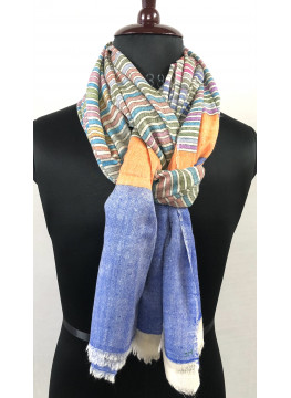 Multicolored Candy Stripes Handwoven Cashmere Pashmina Shawl