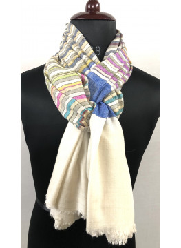 Multicolored Pencil Stripes Authentic Cashmere Pashmina Shawl