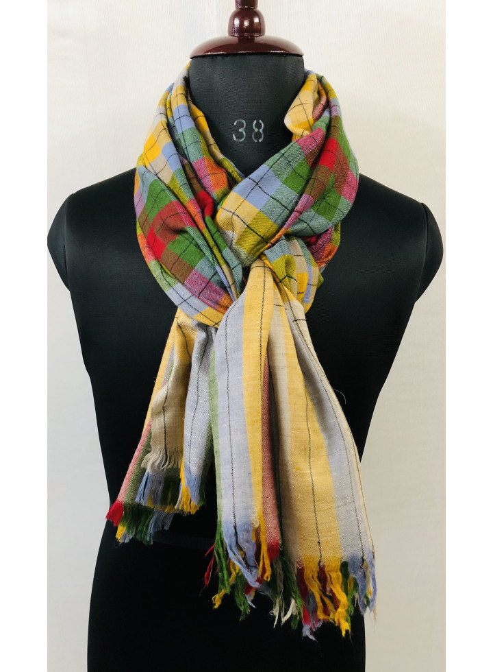 Multicolored Plaid Check Real Cashmere Pashmina Shawl