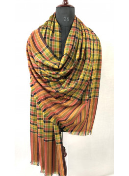 Multicolored Check White Outlined Pure Cashmere Pashmina Shawl