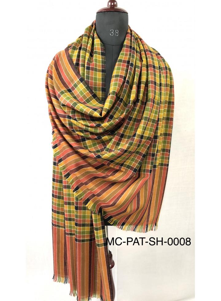 Multicolored Check White Outlined Pure Cashmere Pashmina Shawl