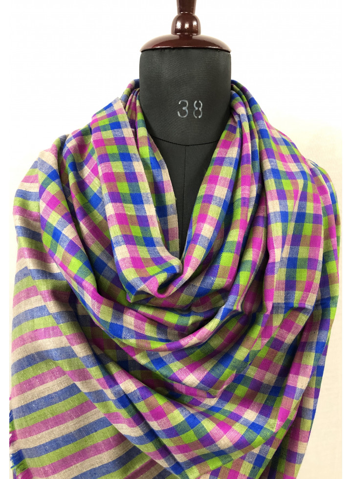 Checkered Multicolor Gingham Real Cashmere Pashmina Shawl