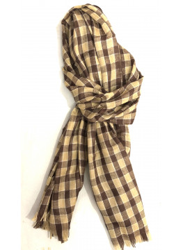 Pashmina Brown Check Outlined Stole