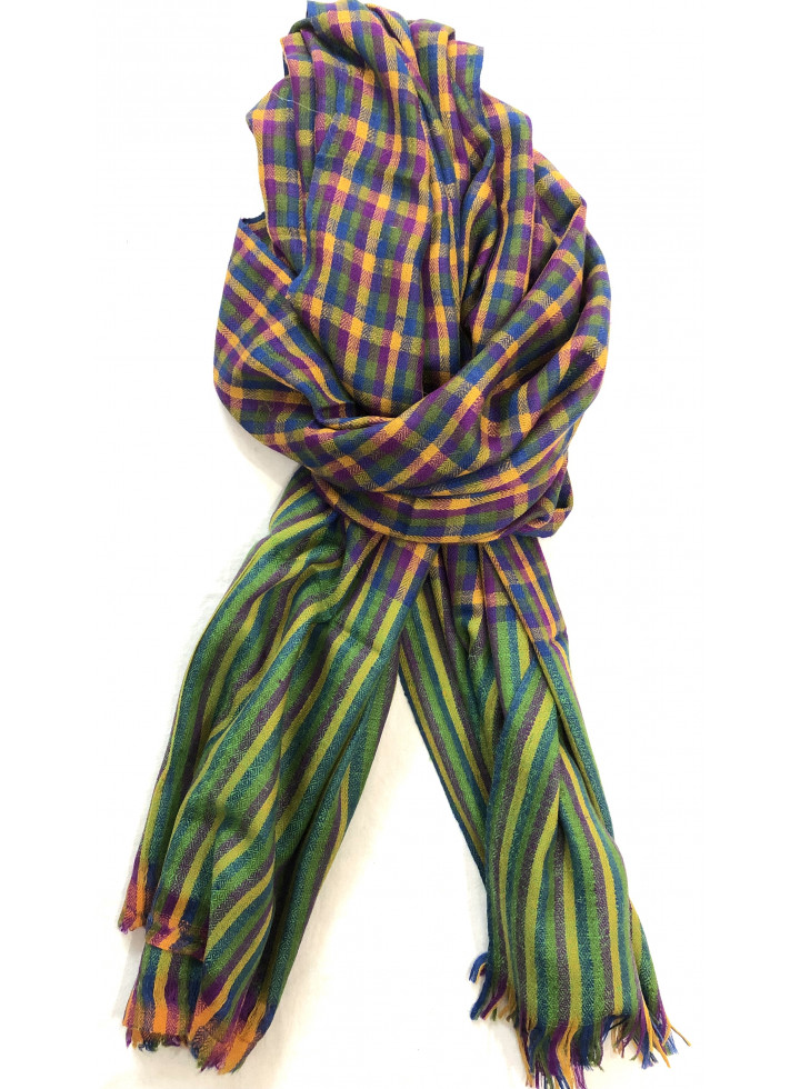 Multicolored Mini-Check Cashmere Pashmina Stole
