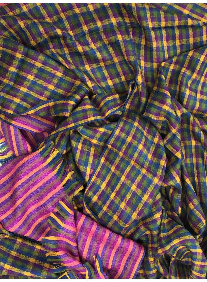 Multicolored Shepherd's Check Cashmere Pashmina Stole
