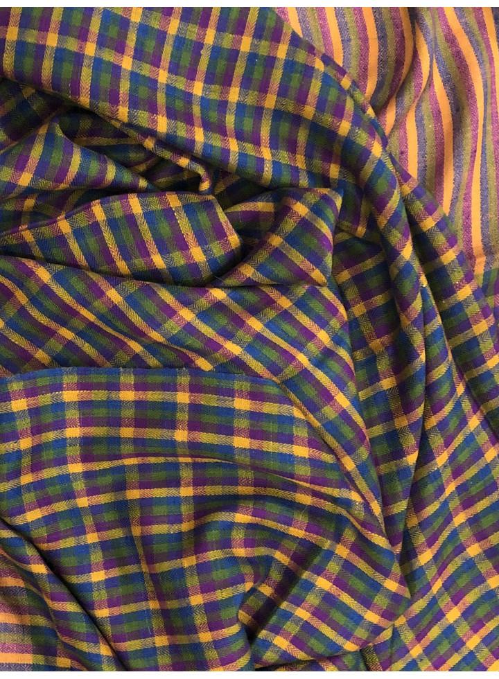 Mini-Check Pattern Handwoven Cashmere Pashmina Stole
