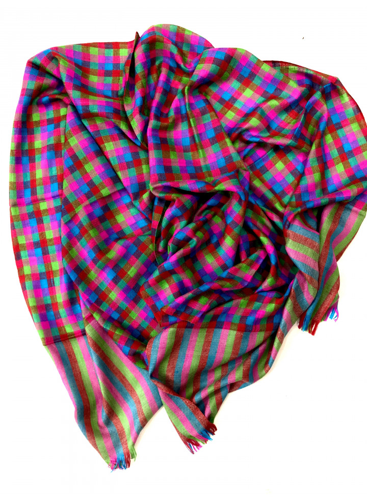 Colorful Mini-Check Pure Cashmere Pashmina Stole