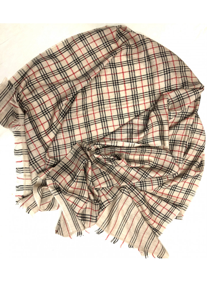 Natural Plaid Cashmere Pashmina Stole