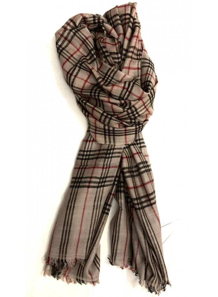 Stucco Plaid Real Cashmere Pashmina Stole