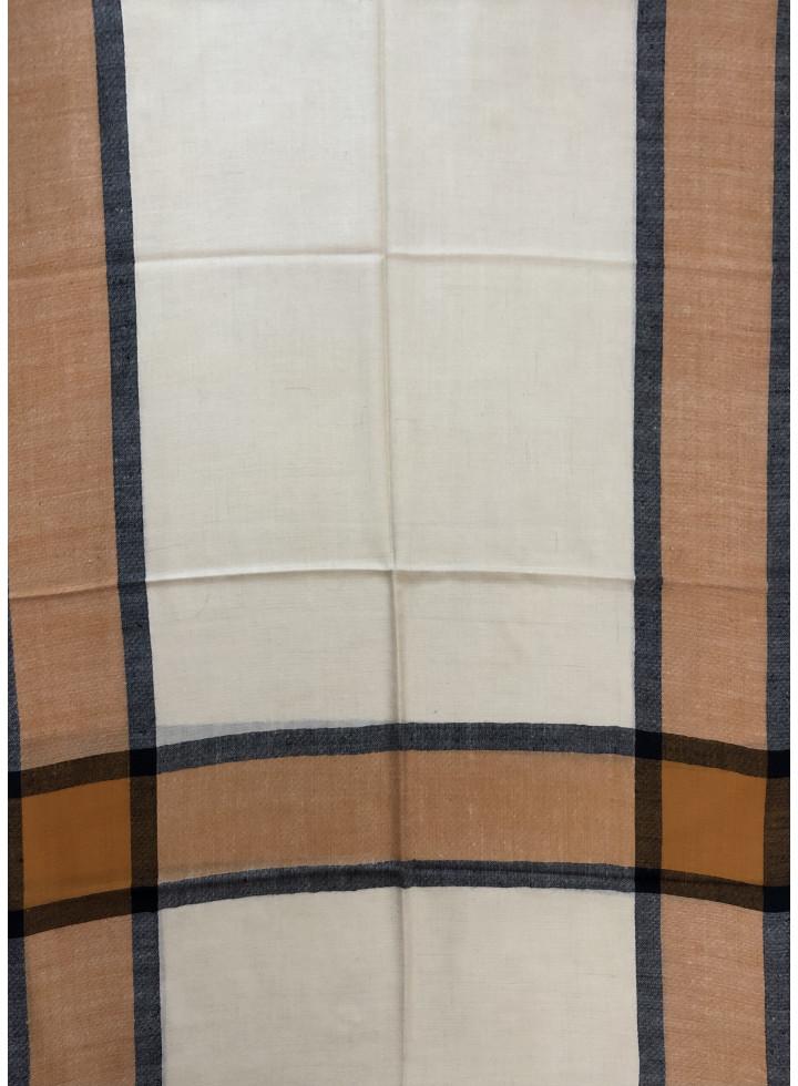 Vanilla Custard Regency Stripes Cashmere Pashmina Stole