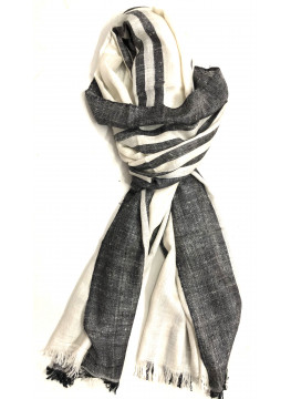 Black And White Double Stripes Cashmere Pashmina Stole