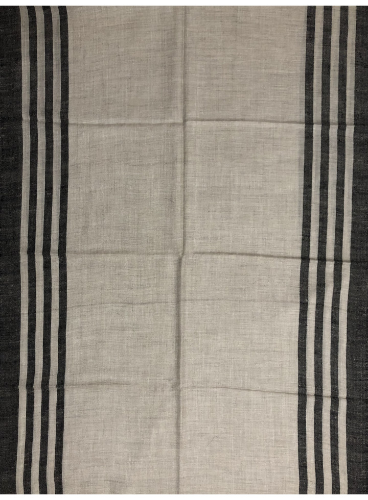 Natural And White Side Stripes Cashmere Pashmina Stole