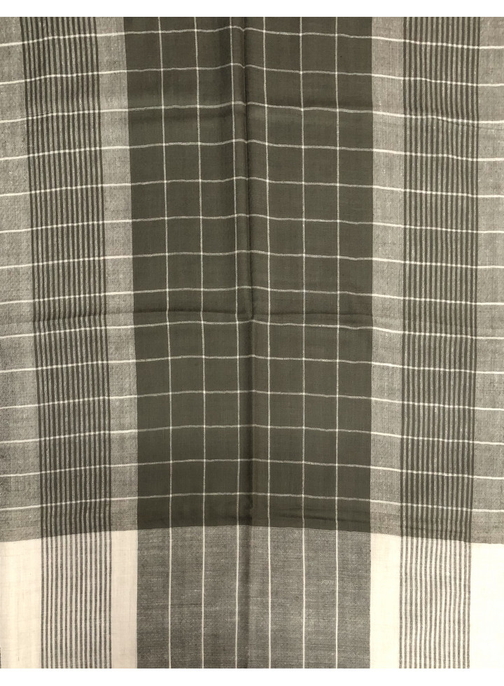 Hairline Stripes Windowpane Check Real Cashmere Pashmina Stole