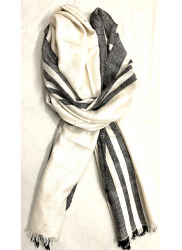 Black And White Side Stripes Cashmere Pashmina Stole