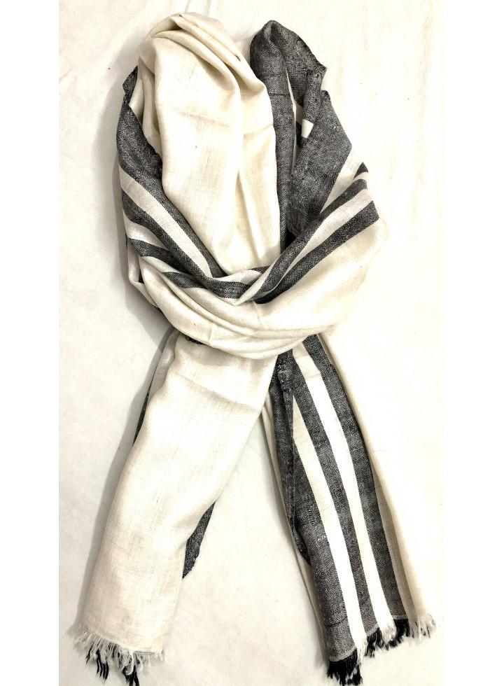 Black And White Side Stripes Cashmere Pashmina Stole