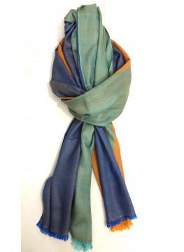 Exquisite Tricolor Handwoven Cashmere Pashmina Stole
