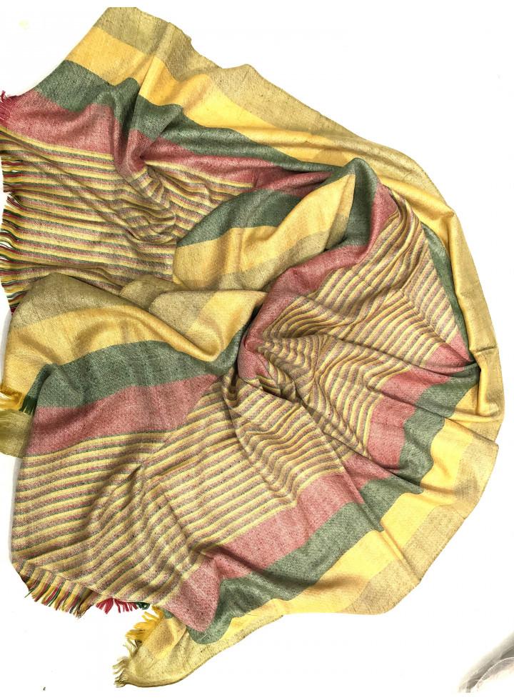 Madras Shadow Stripes Real Cashmere Pashmina Stole