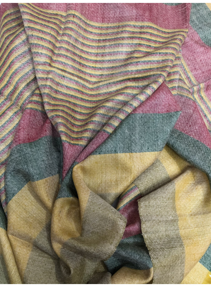 Madras Shadow Stripes Real Cashmere Pashmina Stole