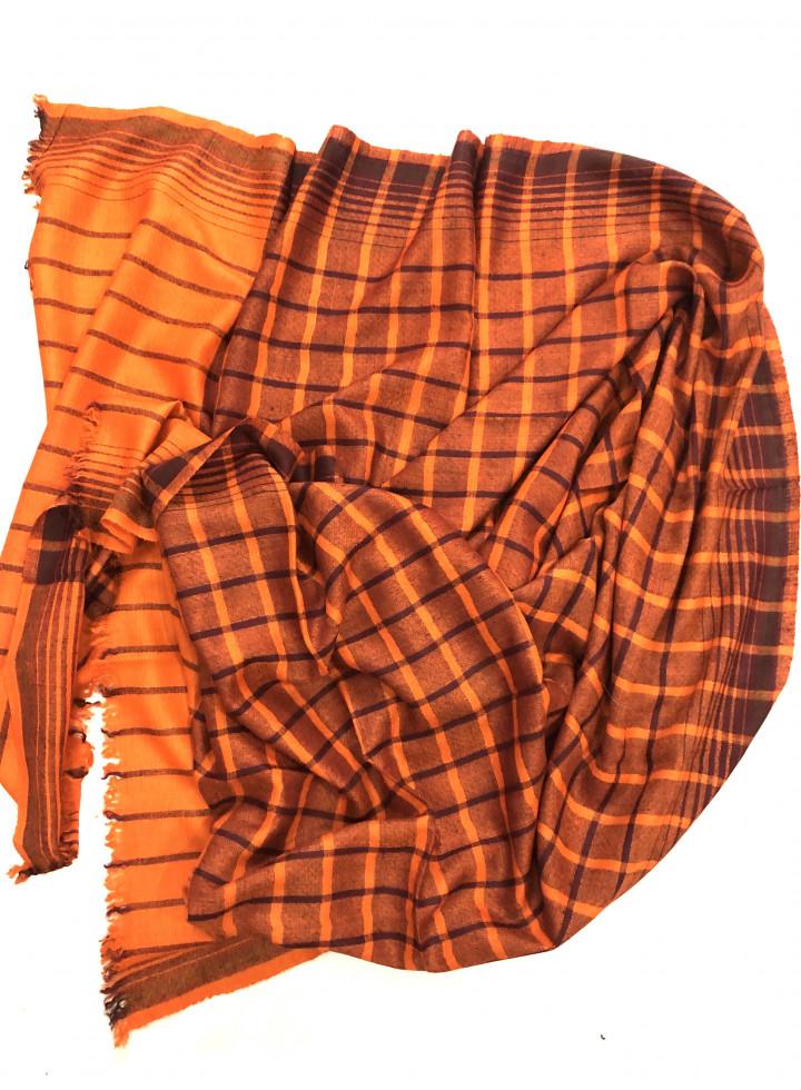 Bright Marigold Tattersall Check Cashmere Pashmina Stole