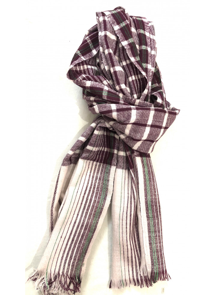 Hot Chocolate Checkered Real Cashmere Pashmina Stole
