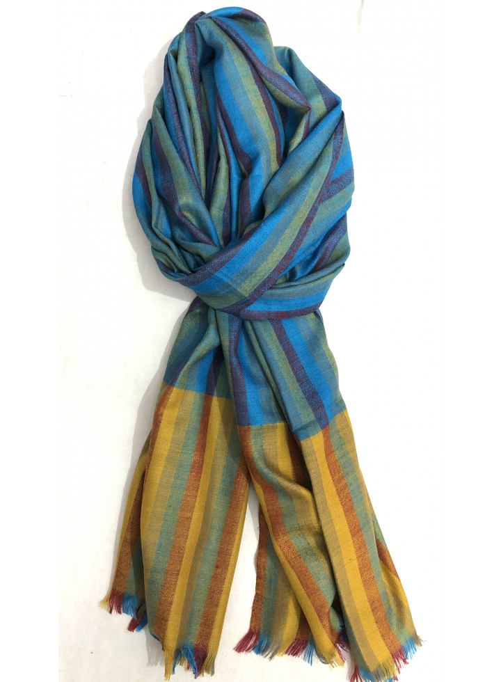 Classic Shadow Stripes Verified Cashmere Pashmina Stole