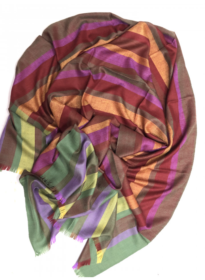 Awesome Morning Stripes Real Cashmere Pashmina Stole