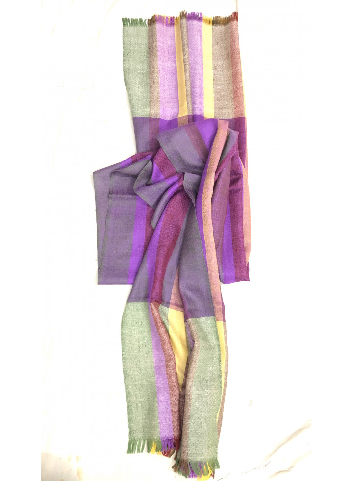 Playful Multicolor Stripes Real Cashmere Pashmina Stole